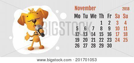 2018 year of yellow dog on Chinese calendar. Fun dog sings. Calendar grid month November. Vector cartoon illustration