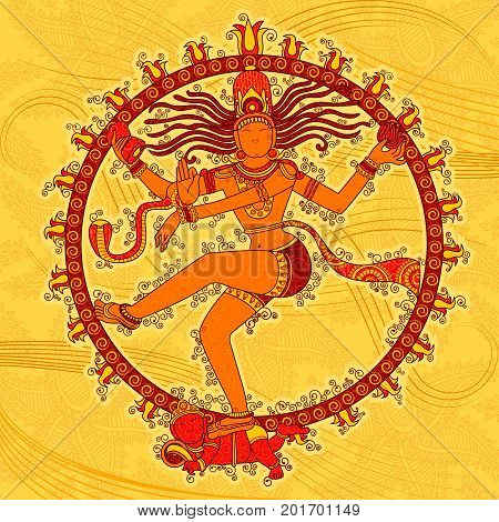 Vector design of Vintage statue of Indian Lord Shiva in India art style
