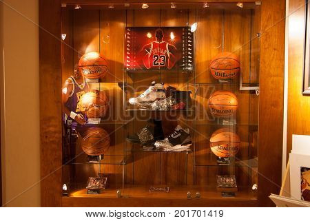 NEW YORK CITY - Dec 16, 2010:  Michael Jordan signed commemorative items for sale are displayed in the NBA store in Manhattan., Dec 16, 2010 in New York City, USA.