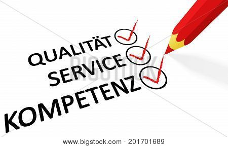 Red Pencil And Text Quality Service Competence