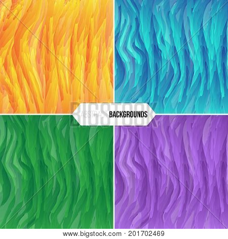 Concept of an abstract lined background. Set of 4 different color combinations
