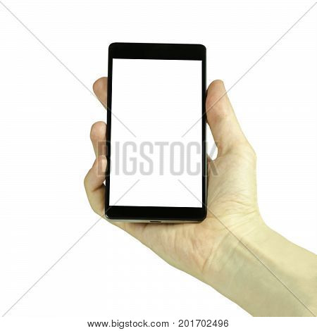 Closeup photo of a male hand holding a black cell phone with a blank white display isolated on a white background