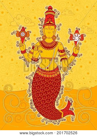 Vector design of Vintage statue of Indian Lord Matsya sculpture one of avatar from the Dashavatara of Vishnu in India art style