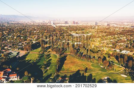 Aerial view of a golf course country club in Los Angeles, CA