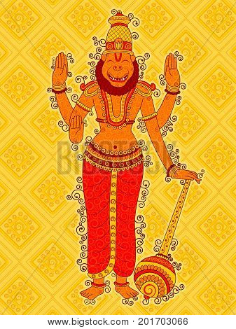 Vector design of Vintage statue of Indian Lord Narasimha sculpture one of avatar from the Dashavatara of Vishnu in India art style