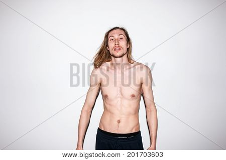 Topless man portrait.  Modern fashion youth, aggressive young male