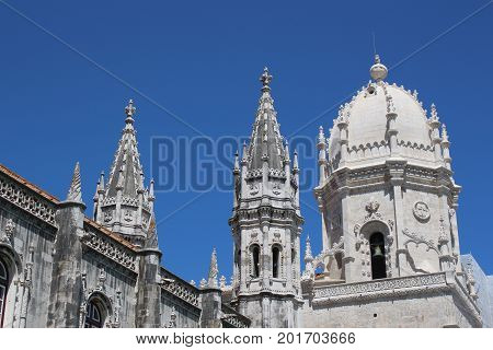 Ornate architecture of the Jeronimos Monastery in Lisbon Portugal