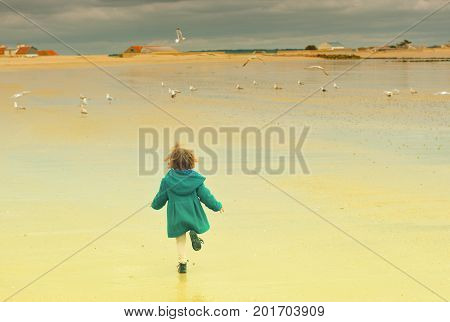 Girl run away. Seagulls flying around at a Atlantic ocean