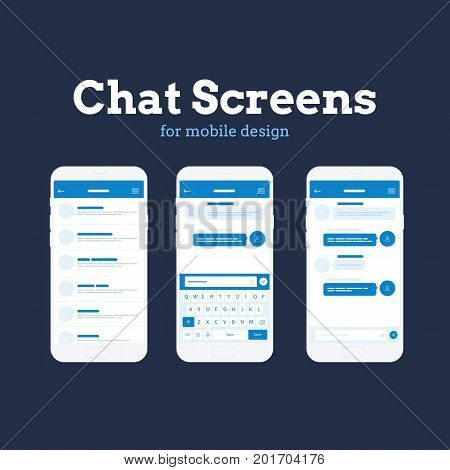 Mobile App Wireframe Ui Kit. Detailed wireframe for quick prototyping. Chat conversation mockup screens.