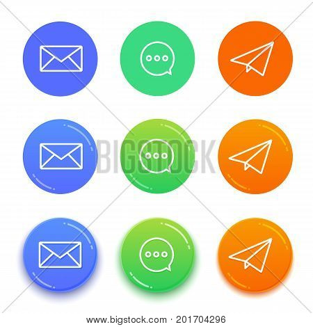 Live chat conversation icons. Message vector icons. Send message buttons.