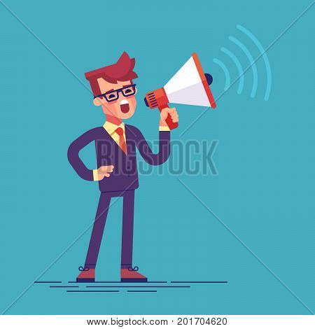 A businessman in formal suit holding megaphone and shouting in it. Cartoon character - manager with bullhorn. Business concept. Vector flat design illustration.