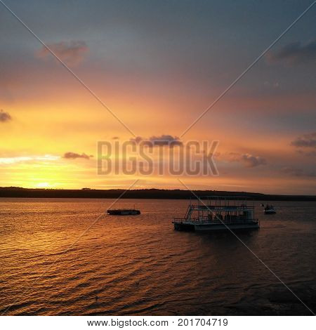 A river in Brazil famous by its sunsets landscapes, where many touristic balsas take tourists to admire it