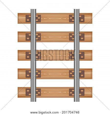 Railway track detailed road wood old style isolated top view rails. Seamless Vector illustration symbol for web polygraphy site design or button.