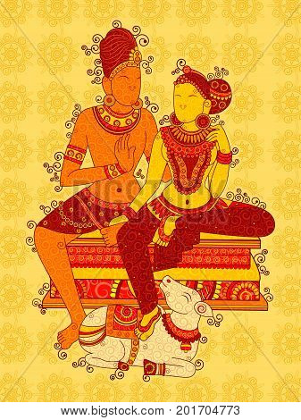 Vector design of Vintage statue of Indian Lord Shiva Parvati in India art style