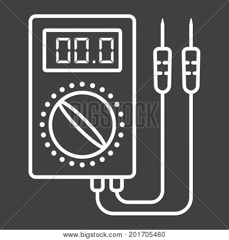 Digital multimeter line icon, build and repair, electric volmeter sign vector graphics, a linear pattern on a black background, eps 10.