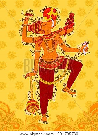 Vector design of Vintage statue of Indian Lord Varaha sculpture one of avatar from the Dashavatara of Vishnu in India art style