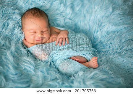 Happy Smiling Newborn Baby In Wrap, Sleeping Happily In Cozy Fur