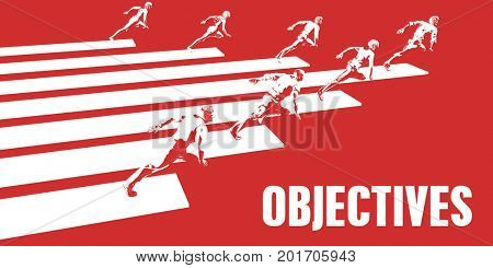 Objectives with Business People Running in a Path 3D Illustration Render