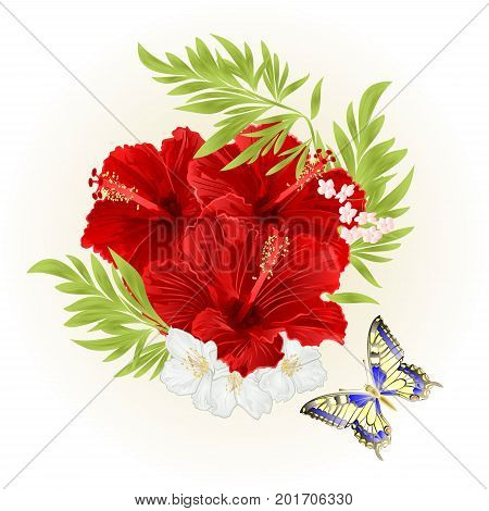 Red hibiscus tropical flowers with jasmine flowers and butterfly vintage vector editable illustration hand drawn