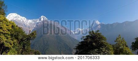 Panoramic View Of The Machapuchare, On The Annapurna Base Camp Trek, Nepal