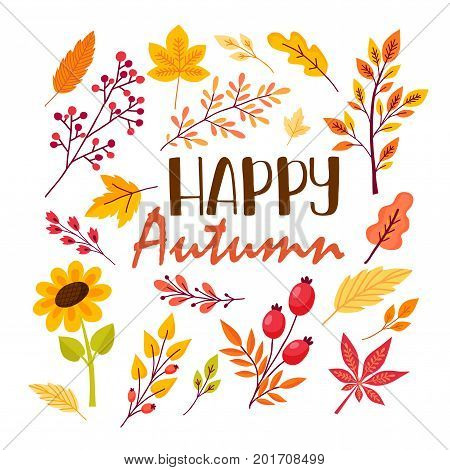 Fall Festival template. Bright colourful autumn leaves on vertical white background. Autumn greeting card with original lettering