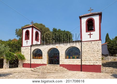 Montenegro Podgorica, Male Dajbabe Monastery. Was founded in 1897. View of the Church of the Assumption of the Virgin landmark