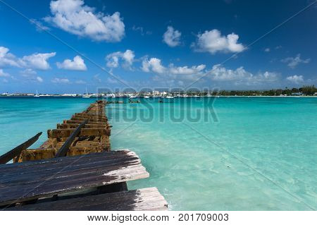 Old broken pier near Bridgetown, Barbados