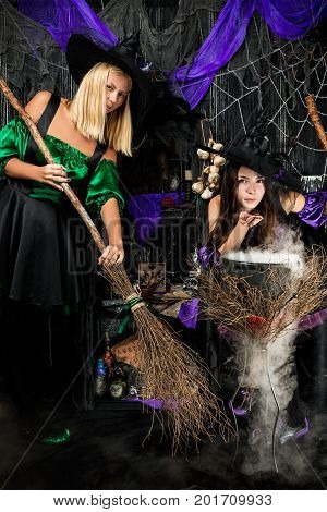 Witches With Brooms And Conjure Brewed Potion