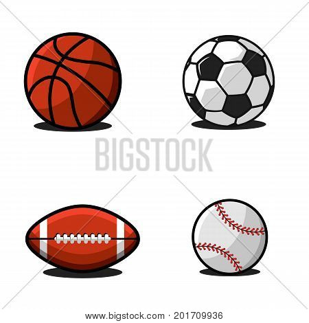 Set Of Balls For Football Or Soccer, Basketball, American Football Or Rugby, Baseball. Collection Of