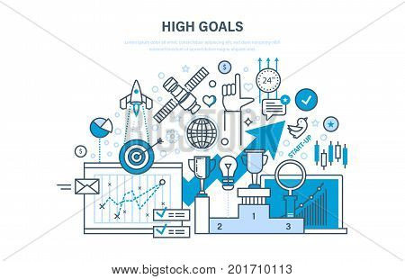 High goals concept. Achievement of high goals, self-improvement, leadership, success in business and growth in work, start-up. Illustration thin line design of vector doodles, infographics elements.