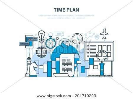 Time plan concept. Time management, planning, analysis and research, marketing strategy and business strategy. Illustration thin line design of vector doodles, infographics elements.