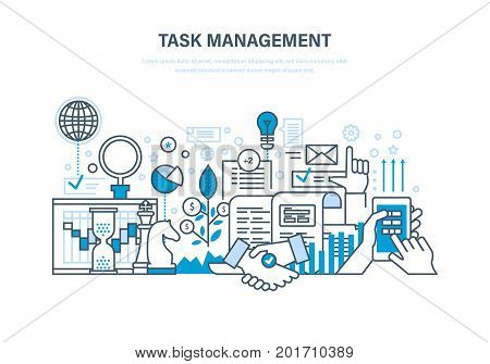 Task management concept. Time management, planning, analysis and research, marketing strategy, business strategy. Project manager, result of activity. Illustration thin line design of vector doodles.
