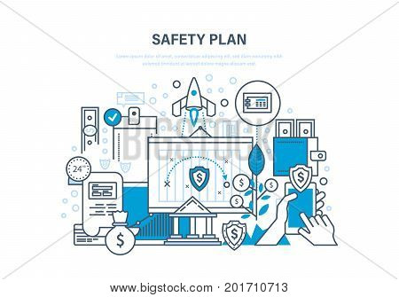 Safety plan. Safe storage of financial savings, data and information protection, guarantee of safety and integrity of projects, statistics, data. Illustration thin line design of vector doodles.