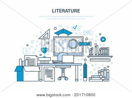 Educational, scientific literature, research works, statistics, knowledge base, reference materials, data. Classroom, teaching education knowledge Illustration thin line design of vector doodles