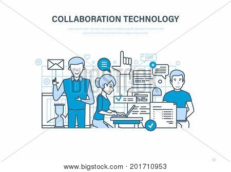 Collaboration technology concept. Cooperation, partnerships, teamwork, sales, research and marketing and integrated approach to discussion of issues. Illustration thin line design of vector doodles