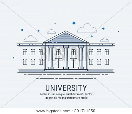 University College academy or shool building in modern vector style illustration. For web banner or landing page.