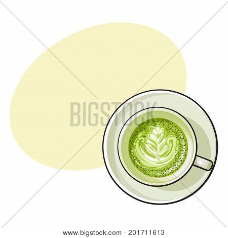 Hand drawn matcha green tea latte, cappuccino drink, top view sketch vector illustration with space for text.