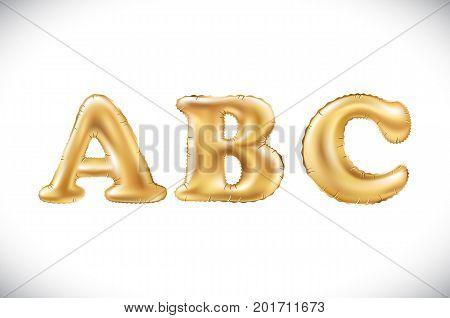 Vector Metallic Gold A B C Balloons, Golden Letter. New Year, Holiday, Birthday, Celebration. Golden