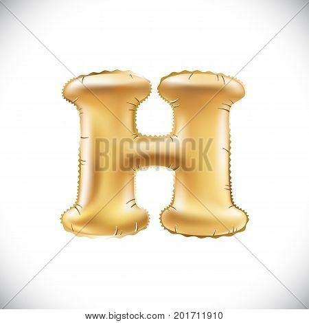 Gold Balloon Font Part Of Full Set Upper Case Letters H