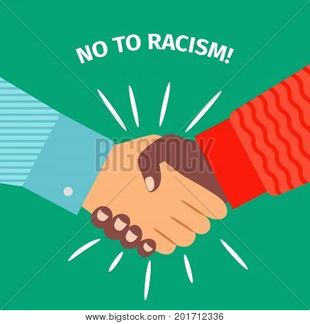 No to Racism. Handshake businessman agreement, vector illustration