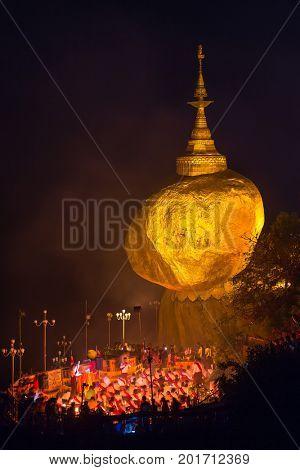 Kyaikhtiyo, Myanmar - Octover 15, 2016: Kyaiktiyo pagoda, Golden rock in Myanmar.