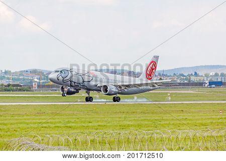 Airplane Touchdown: Niki Airline Landing, Airport Stuttgart, Germany