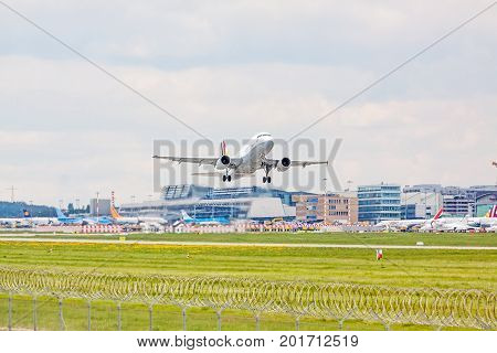 Airplane From Germanwings After Takeoff, Airport Stuttgart, Germany