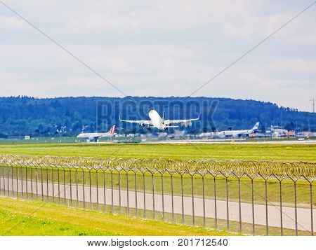 Airplane From Turkish Airlines After Takeoff, Airport Stuttgart, Germany