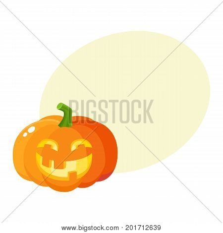 Laughing, happy pumpkin jack-o-lantern with funny teeth, Halloween symbol, cartoon vector illustration with space for text. Pumpkin lantern with smiling, laughing face, Halloween decoration