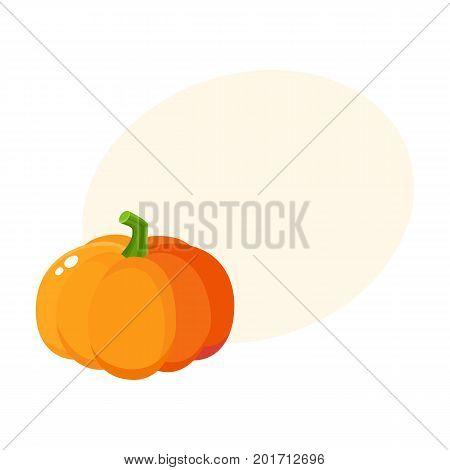 Cute cartoon pumpkin, Halloween, thanksgiving symbol, decoration element, cartoon vector illustration with space for text. Shiny orange pumpkin, cartoon style Halloween decoration element