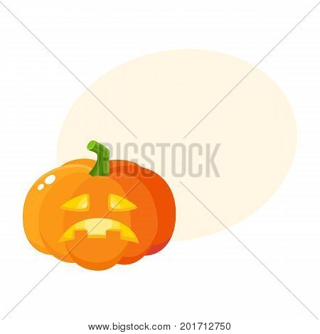Sad, frustrated pumpkin jack-o-lantern, Halloween symbol, cartoon vector illustration with space for text. Cartoon style pumpkin lantern with sad carved out face, Halloween decoration element