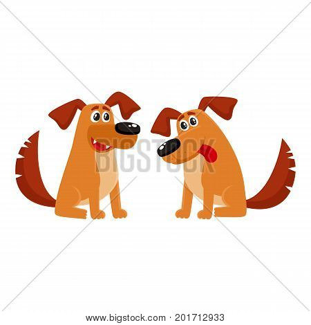 Two funny sitting dog characters, one talking, another listening with tongue out, cartoon vector illustration isolated on white background. Couple of funny sitting dog characters