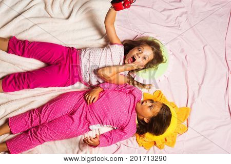 Kinds In Pink Pajamas Have Fun, Put Hands Up
