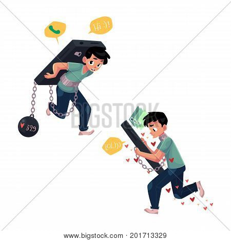 Teenage boy chained to, carrying huge smartphone, phone dependence, cartoon vector illustration isolated on white background. Boy chained to, carrying huge phone, unable to stop chatting